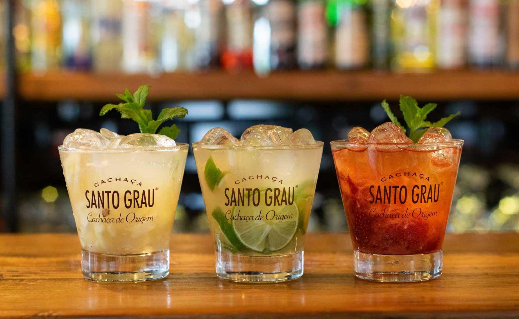 Drei Santo Grau Frucht-Batida Cocktails